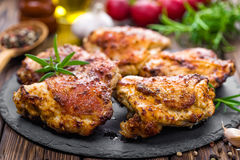 Grilled chicken thighs. With spices Royalty Free Stock Photos