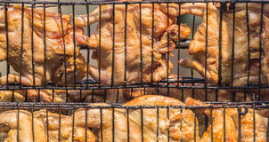 Grilled Chicken. At a time, using a steel bracket chicken Royalty Free Stock Photos