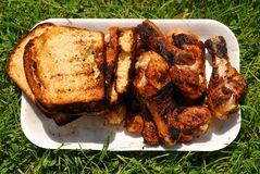 Grilled chicken and toast bread  Stock Photography