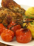 Grilled chicken with tomatoes, closeup Royalty Free Stock Photography