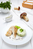 Grilled chicken or turkey breast fillet with broccoli, mashed potatoes Stock Photography