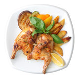 Grilled chicken with vegetables royalty free stock image