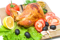 Grilled chicken with vegetables close-up Stock Photography