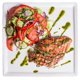 Grilled chicken with vegetables. Grilled chicken with vegetable salad Royalty Free Stock Photos