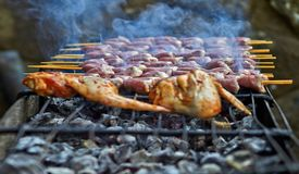 Grilled chicken on a warm spring stock photography