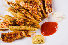 Grilled chicken white meat and baby corn on skewer Royalty Free Stock Photos