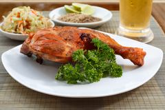 Grilled chicken on white plate with parsley, salad and beer outdoors Royalty Free Stock Photo