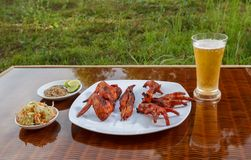 Grilled chicken on white plate with parsley, salad and beer outdoors Stock Photos