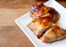 Grilled chicken on white plate Royalty Free Stock Photography