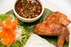 Grilled chicken wing and sticky rice Royalty Free Stock Photo