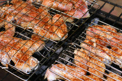 Grilled chicken wings stock photography