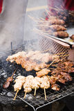 Grilled chicken wings. Sold by street food vendor in bangkok, thailand Royalty Free Stock Photography