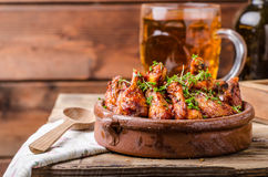 Grilled chicken wings with beer Royalty Free Stock Photography