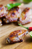 Grilled chicken wings with chili sauce Royalty Free Stock Images