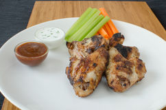 Grilled Chicken wings with dip Royalty Free Stock Photos