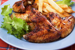 Grilled chicken wings with french fries Royalty Free Stock Image