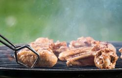 Grilled chicken wings on the grill Stock Images