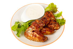 Grilled chicken wings isolated on white Stock Photos