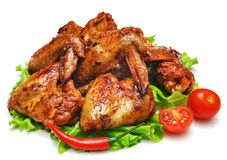 Grilled chicken wings isolated on white Royalty Free Stock Photography