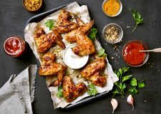 Grilled chicken wings, top view Stock Photos