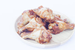 Grilled chicken wings  on white background Royalty Free Stock Photo