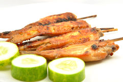 Grilled chicken wings on white dish. Show thai food concept Stock Image