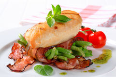 Grilled Chicken With Bacon-wrapped Green Beans Royalty Free Stock Images