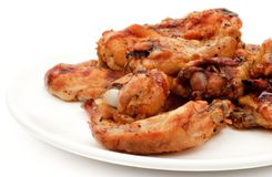 Grilled chiken winglets stock photos