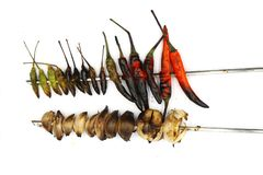 Grilled Chilli and shallot prepare cooking isolated on white background royalty free stock photo
