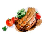 Grilled chop with tomatoes. Watercolor food illustration. Grilled chop with tomatoes. Watercolor food illustration isolated on white background vector illustration