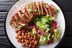 Free Grilled Chopped Beef Steak With Fresh Salad And Beans Close-up. Stock Photo - 115821050