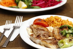 Grilled chops and salad Royalty Free Stock Photo