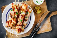 Grilled Cilantro Chicken Skewers. Top view stock photo
