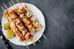 Grilled Cilantro Chicken Skewers. Top view stock photos