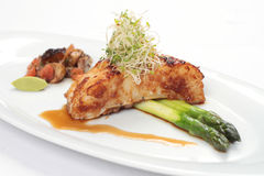 Grilled cod fillet with asparagus Royalty Free Stock Photography