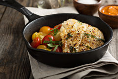 Grilled cod with tomato salad Stock Photos