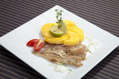 Grilled codfish with baked corn polenta Royalty Free Stock Photos