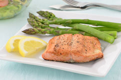 Grilled Coho Salmon filet with asparagus Royalty Free Stock Photos