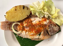 Grilled cooking red tilapia fish on the banana leaf. Royalty Free Stock Photos