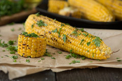 Grilled Corn on the cob with Chili, Cilantro, and Lime Royalty Free Stock Photos
