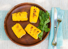 Grilled corn on the cob with salt and butter Top view Copy space Stock Image