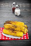 Grilled Corn on the Cob with Salt Stock Photos