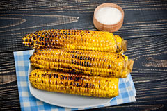 Grilled Corn on the Cob with Salt Stock Photo
