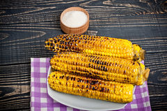 Grilled Corn on the Cob with Salt Stock Images