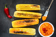 Grilled corn with Stock Photography