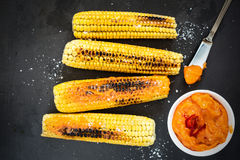 Grilled corn with Royalty Free Stock Photography
