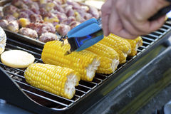 Grilled Corn And Meat Stock Photo