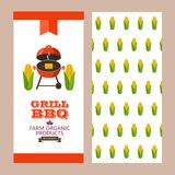 Barbecue, grill. Emblem, logo. Colorful vector illustration in f. Grilled corn. Natural farm products. Booklet template. Pattern for the back of the booklet Stock Photos