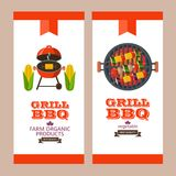 Barbecue, grill. Emblem, logo. Colorful vector illustration in f. Grilled corn. Natural farm products. Grille vegetarian kebabs on skewers. Corn, mushrooms Royalty Free Stock Photography