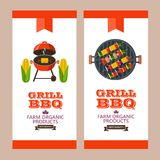 Barbecue, grill. Emblem, logo. Colorful vector illustration in f. Grilled corn. Natural farm products. Grille vegetarian kebabs on skewers. Corn, mushrooms Stock Photo